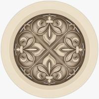3d classical ornamental interior wall model