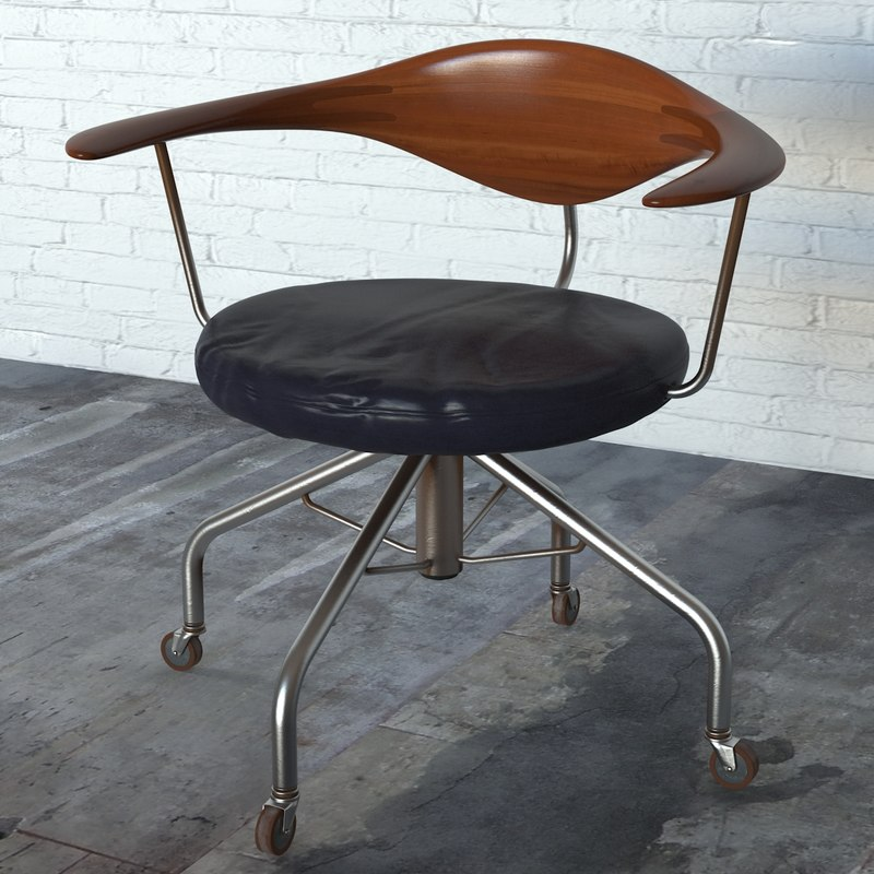 swivel chair pp502 hans wegner 3d max