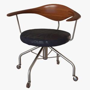 swivel chair pp502 hans wegner 3d max