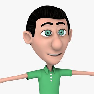 animation cartoon man green 3d max