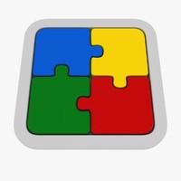 3d model puzzle 4 piece