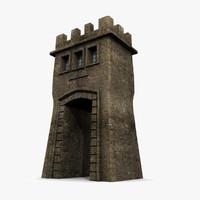 3d model medieval tower gatehouse