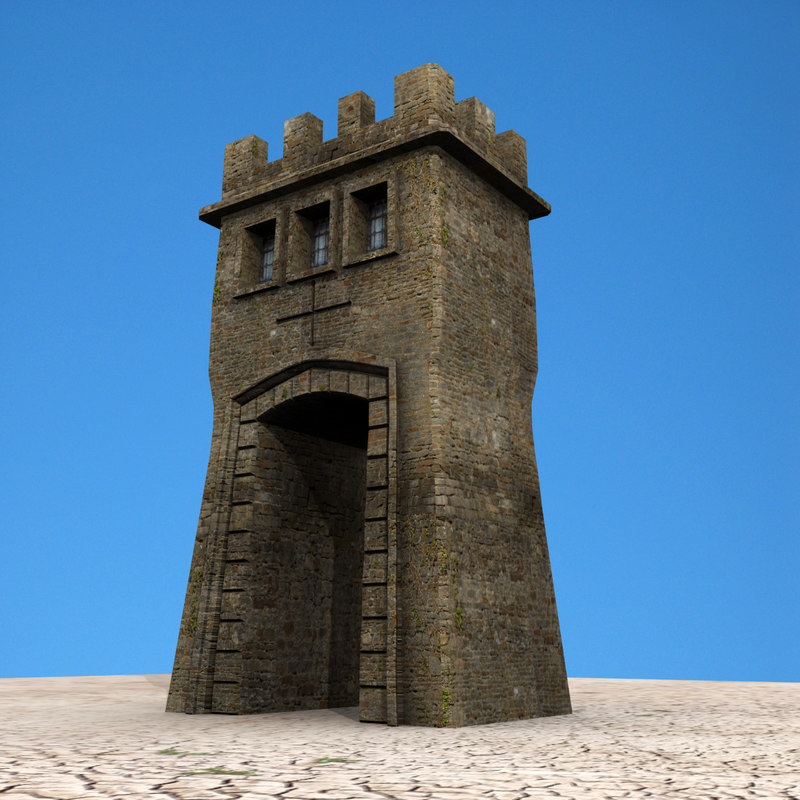 3d model medieval tower gatehouse