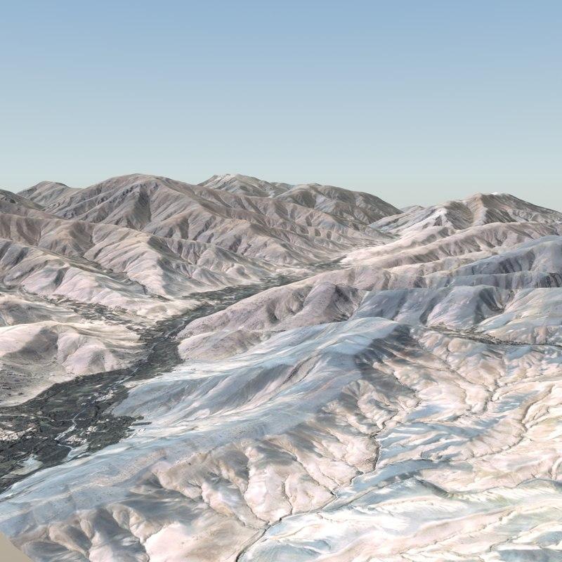3d desert terrain landscape model