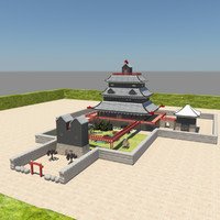 japanese castle interior 3d model