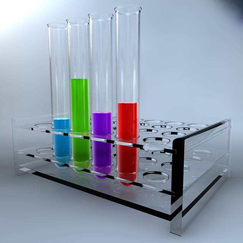 3d model realistic test tubes