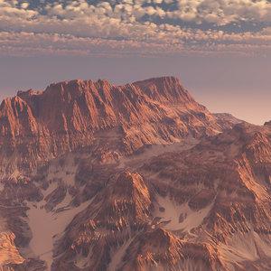 3d obj desert mountain