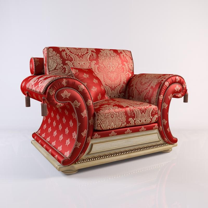 3d armchair modeled model