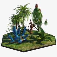 3d model alien plants trees