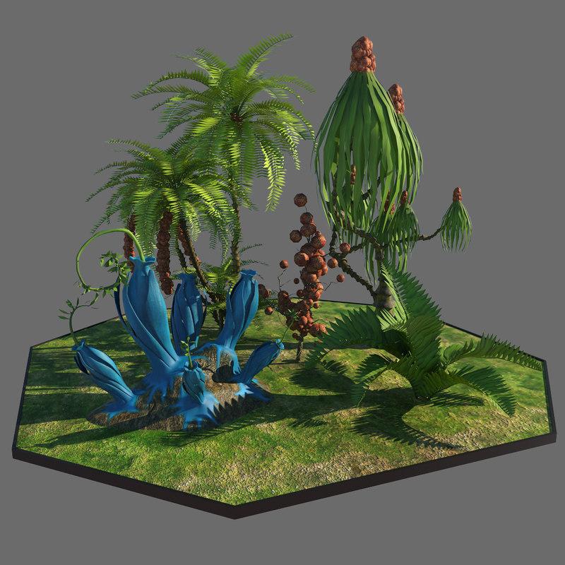 3d model alien plants trees