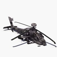 crashed ah64d apache helicopter 3d model