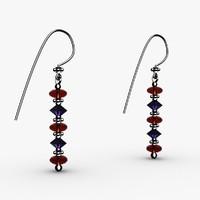 3ds max cut crystal bead earrings