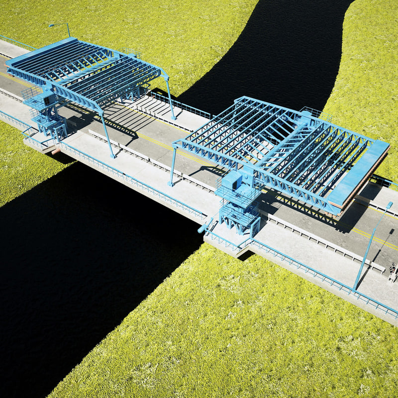 3d double drawbridge model