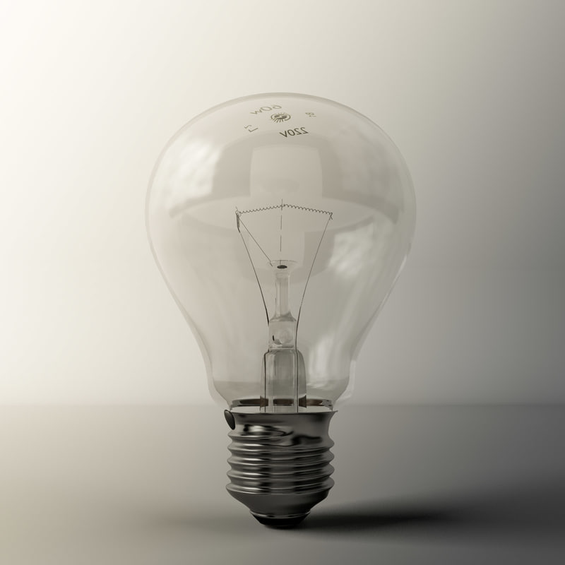 3d model incandescent light bulb lamp