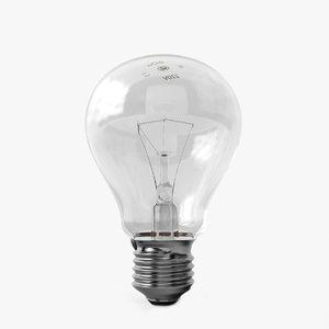 3d model incandescent light bulb lamp