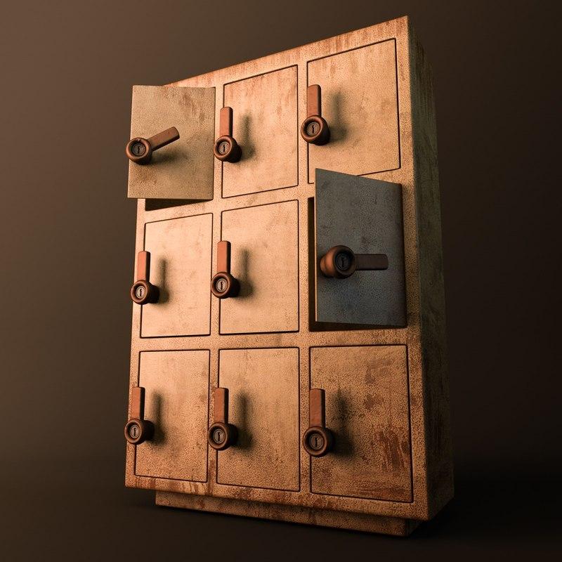 cartoon old school locker 3d model