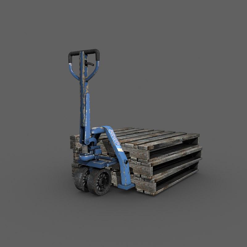 pfaff-silberblau hand pallet truck 3d model