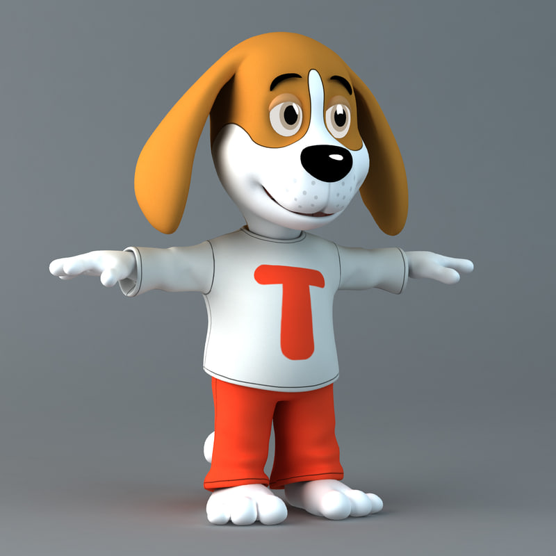 3d model theo - cartoon dog