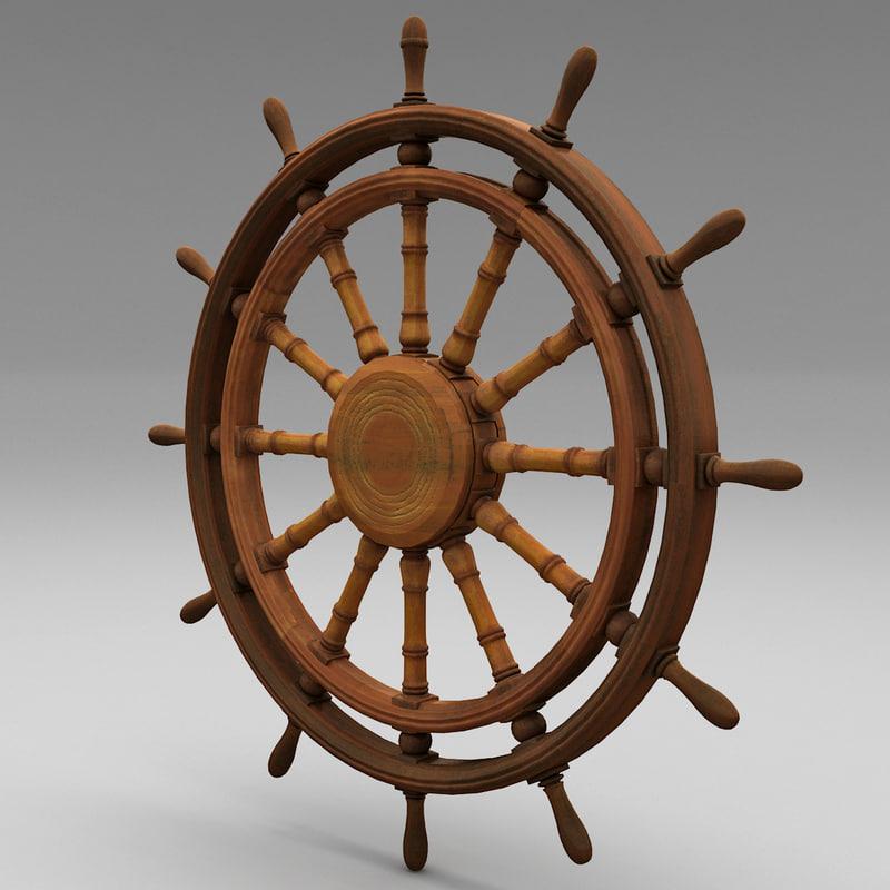 ship wheel 3 3d obj