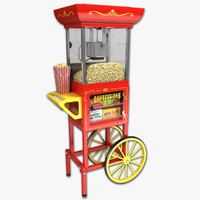 3d old fashioned popcorn cart model