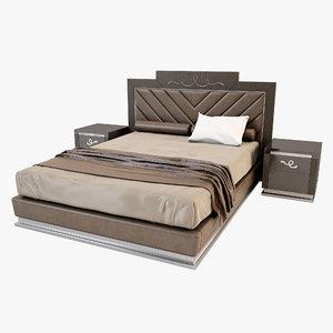 3d bed bedside tables florence model