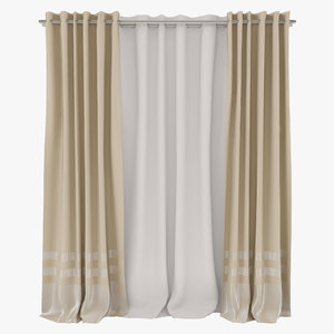 3d curtain french home model
