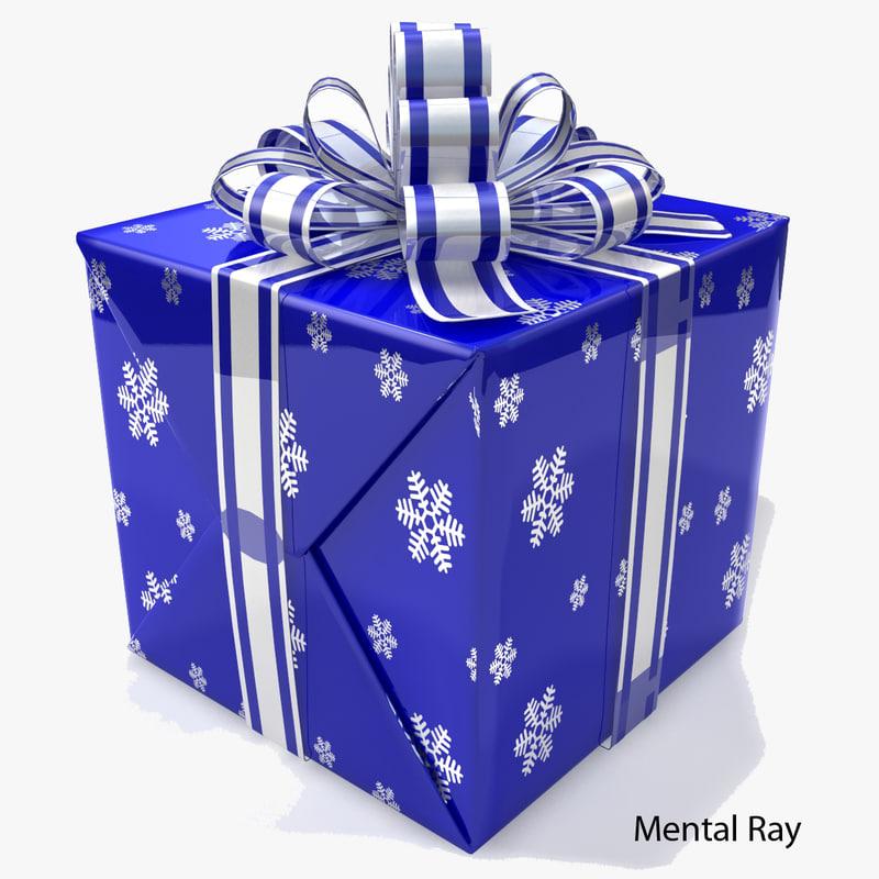 D model box gift blue