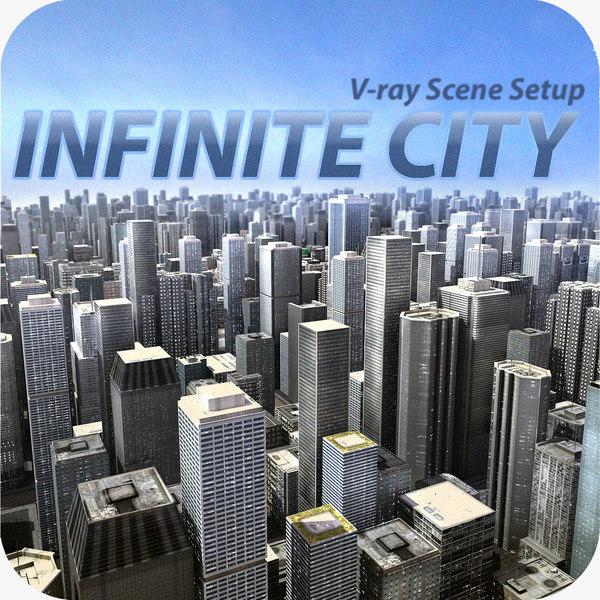 city aerial scenes 3d max