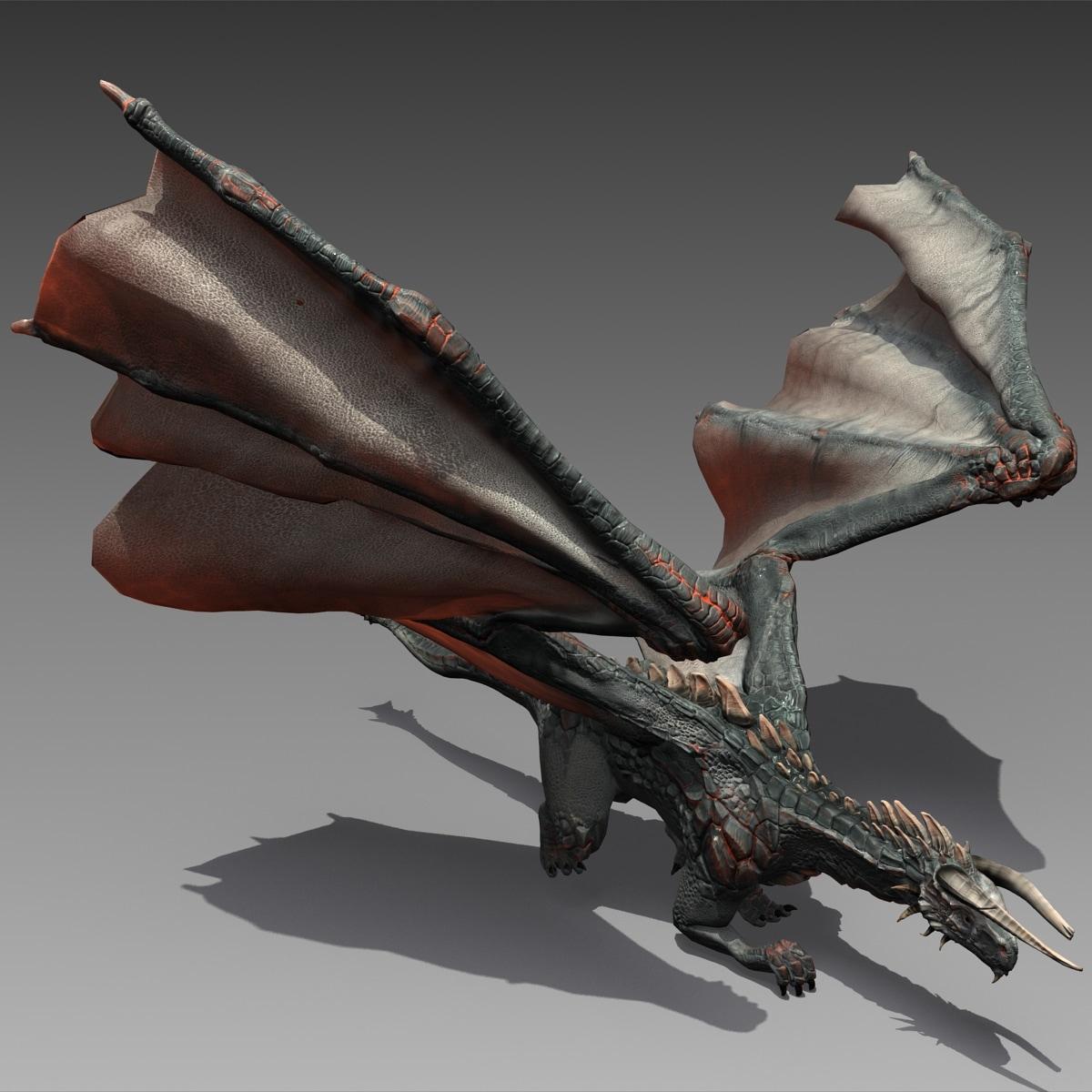 realistic volcano dragon pose 3d model