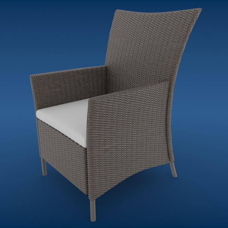 3d 3ds luxury wicker chair