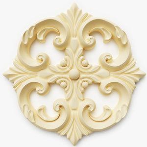classical ornamental interior wall 3d model