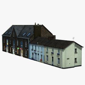 suburbia street block brick house 3d 3ds