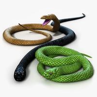 snake rigged 3d model