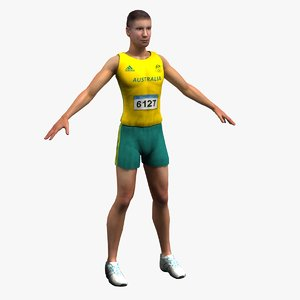 track field athlete 3d model
