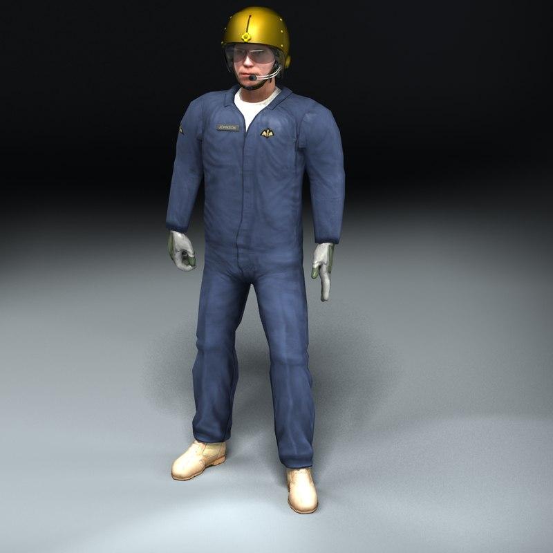 3d rigged pilot helmet model