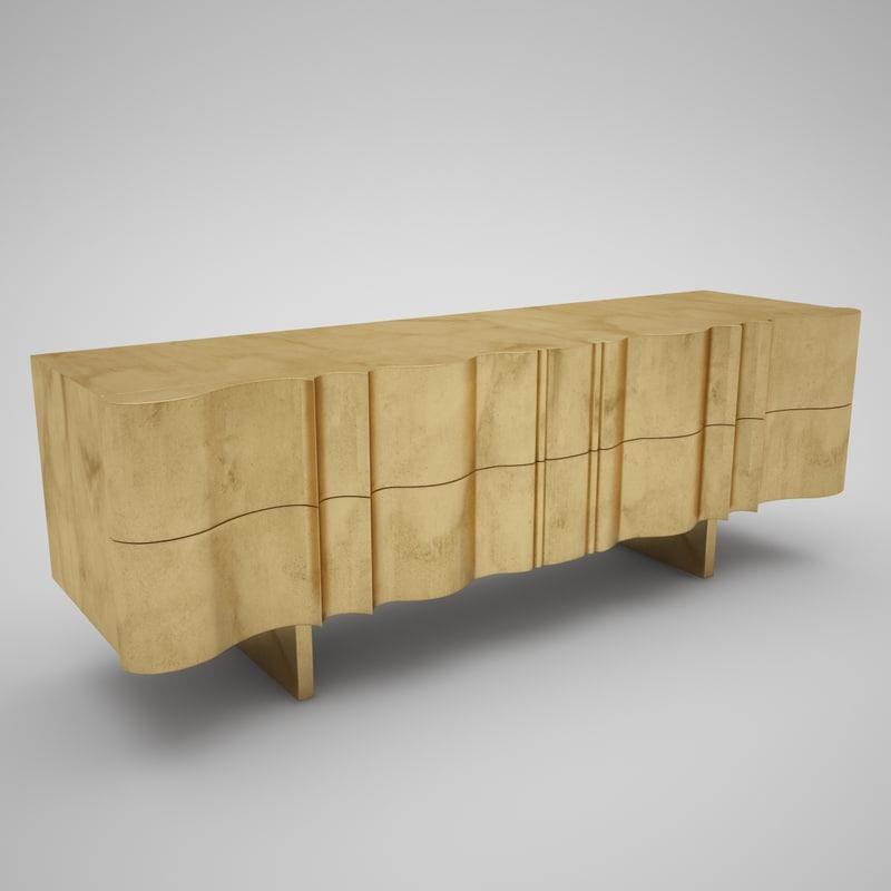 3d golden tv console model