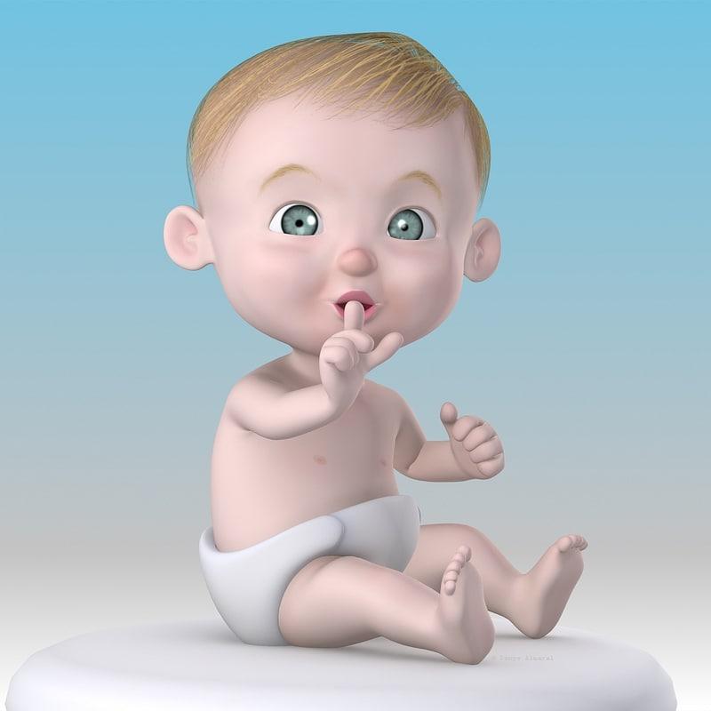 max rigged cartoon baby character