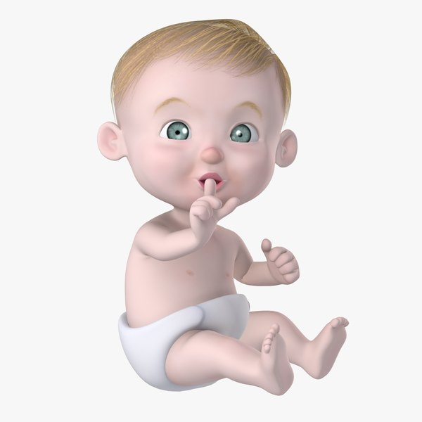 max rigged cartoon baby character