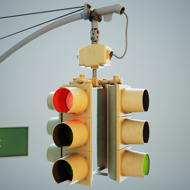 new york traffic lights 3d max