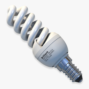 3d model helical fluorescent light bulb