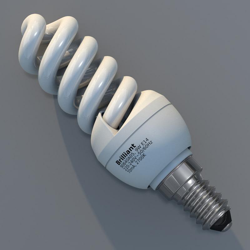 3d model helical fluorescent light bulb