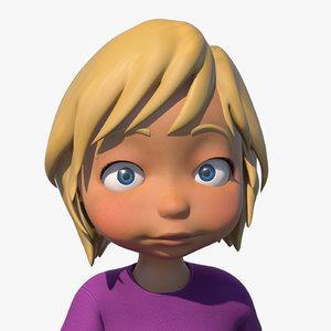 cartoon girl character rigged obj