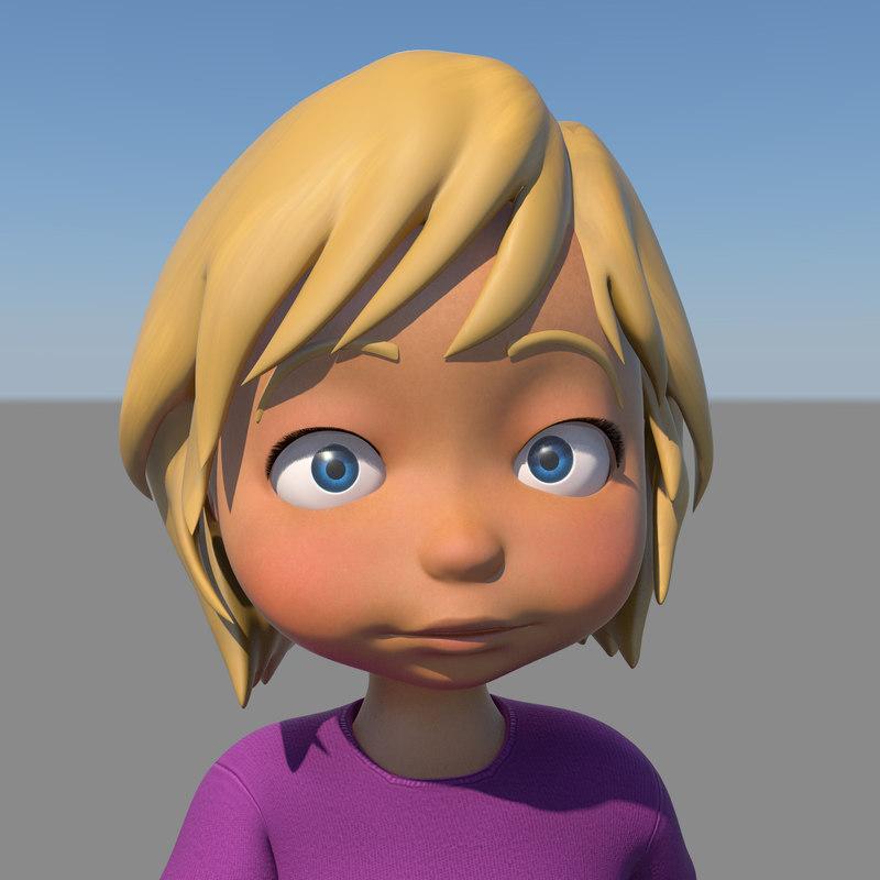 Close Up Characters Cartoon 01 : Cartoon girl character rigged obj