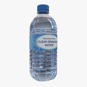 3d plastic bottle water model