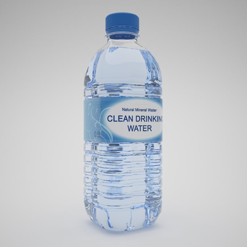 3d plastic bottle water model
