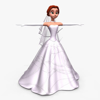 cartoon bride 3d model