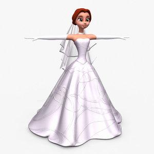 cartoon bride 3d model