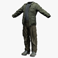 3d men s clothing military model