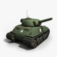 cartoon tank sherman - 3d model