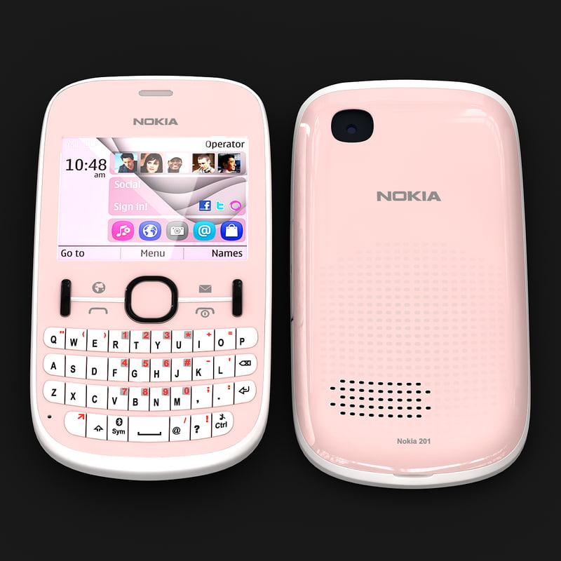 3d model nokia asha 201 pink